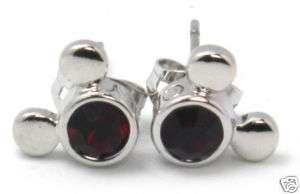 Disney Mickey Mouse Ruby Stud Earrings Birthstone July