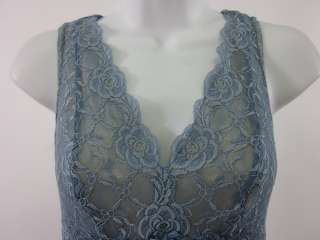 LEIGH BANTIVOGLIO Blue Lace Blouse Shirt Tank Top Sz S
