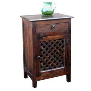 Aishni Home CL114 Castle Jali Nightstand, Medium Brown