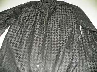 Zanella Italy Dress Shirt XXL 2XL 18 X 36 / 37 Gray Black Pattern
