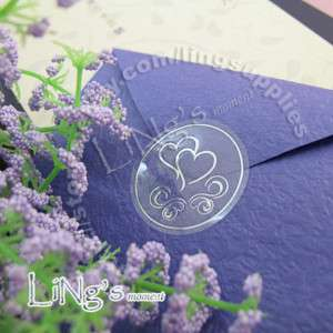 120 Wedding Envelope SILVER Sticker Seal DOUBLE HEART