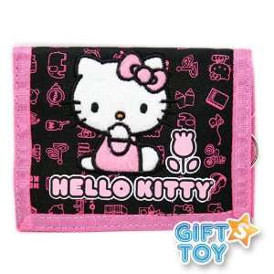 Sanrio Hello Kitty Flower Tri fold Wallet (Black)