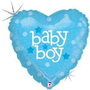 Blue Baby Boy 18 Mylar Balloon in Heart Shape Toys