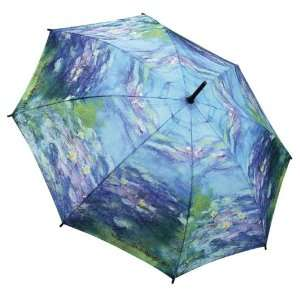 Monet Water Lilies Stick Umbrella with Auto Open Button By