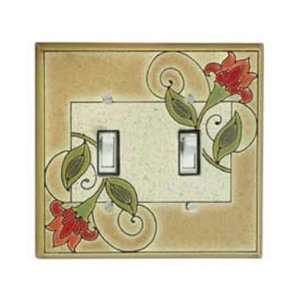 Jacobean Flowers Ceramic Switch Plate / 2 Toggle