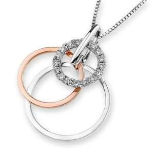 18K Rose And White Gold Round Diamond Triple Circle Pendant w/Sterling
