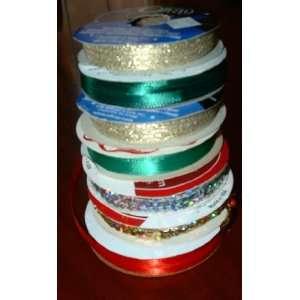 7 Spools Holiday Christmas Gift Ribbon/tie/real Ribbon