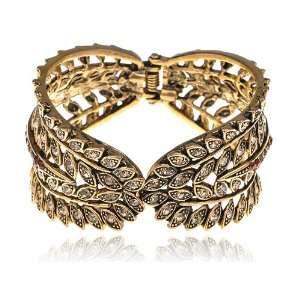Gold Tone Crystal Rhinestone Feather Design Gold Tone Bracelet Bangle