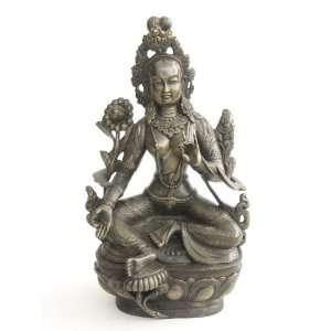 Large White Tara Buddhist Statue on Lotus, Cast Bronze, 15
