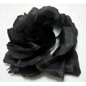 Black and White Rose Flower Hair Clip