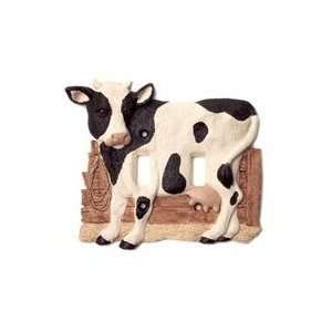 MOO Cow Black and White Double Switch Plate Cover