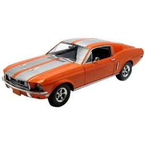 1968 Ford Mustang GT Fastback Orange with Silver Stripes 1