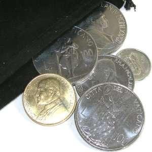 6 Vatican City Coins in Velour Gift Bag   Pope John Paul