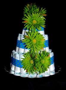 Blue Diaper Cake Boy Baby Shower Gift Centerpiece Cute