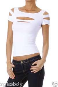 Cropped CLUB Dance WEAR Tee Shirt Top WHITE