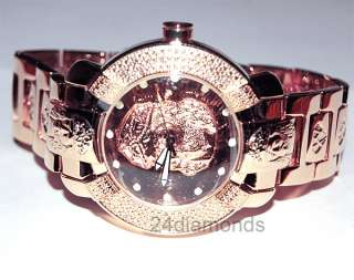Aqua Master Round Rose Gold Plated Jesus Religious Dial Mens Diamond