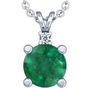 14K White Gold Round Cut Emerald And Round Diamond Pendant