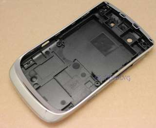SILVER CHROME FULL HOUSING COVER CASE FOR BLACKBERRY TORCH 9800 FASCIA
