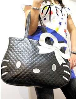 BIG face Silver BOW Hello Kitty Black leather like Handbag purse Tote
