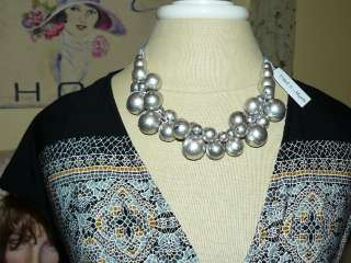 ETHEL & MYRTLE **Stunningly CHIC *SILVER CLUSTERED BEADED* NECKLACE