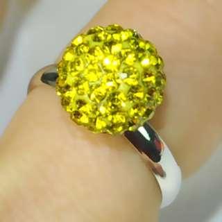 8mm/10mm Fashion Swarovski Crystal Disco Ball adjustable Ring Copper