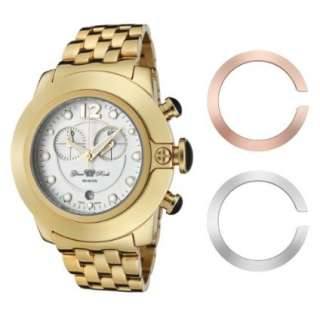 Glam Rock Womens GR32158 SoBe Chronograph White Dial Gold Ion Plated