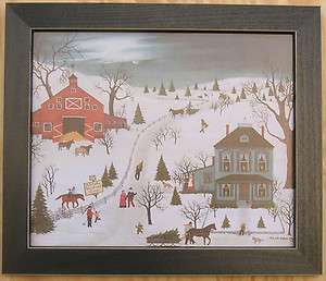 Tree Prints Folk Art Framed 10x12 Country Primitive Picture Print Art