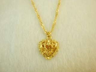 24K Yellow Gold GP Ladys Heart Pendant Necklace