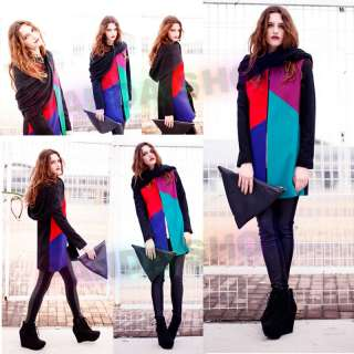 colored Patchwork Lady Hoodie Long Dress Top Coat Dazzling Relaxed