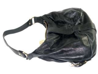 Michael Kors Black Leather Heidi Womens Large Satchel Shoulder Handbag