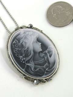 Antique VTG Style Gray Oval Cameo Lady Necklace Pendant