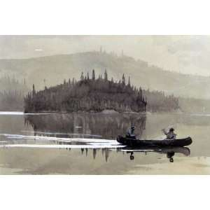 Oil Painting Two Men in a Canoe Winslow Homer Hand