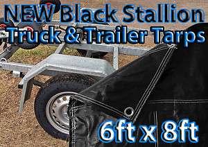 6x8 TARP BLACK STALLION TRUCK TRAILER TARP HEAVY DUTY COVER