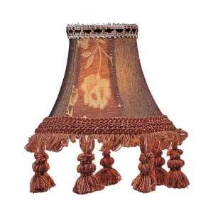 Shade Burgundy Floral Bell Clip Shade with Tassels