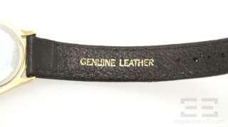 Goldtone Museum Dial & Black Leather Quartz Movement Watch 87E40823