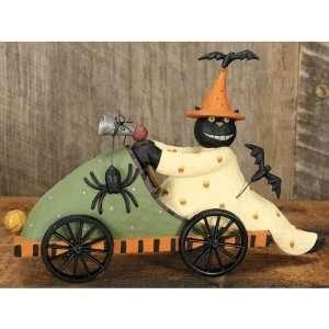 Williraye Cat Driving Race Car Halloween Figurine Kitchen