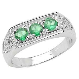 0.50 Carat Genuine Emerald Sterling Silver Ring Jewelry