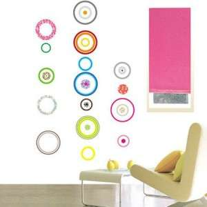CREATIVE RETRO CIRCLES   REMOVABLE WALL STICKERS DECALS