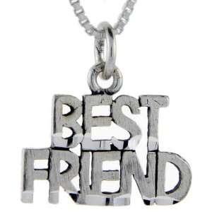 925 Sterling Silver Best Friend Talking Pendant (w/ 18 Silver Chain
