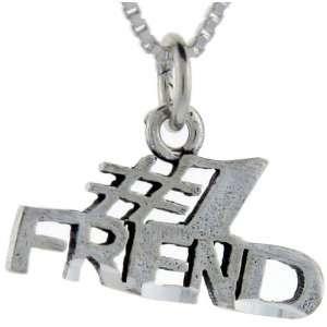 925 Sterling Silver #1 Friend Talking Pendant (w/ 18 Silver Chain), 1
