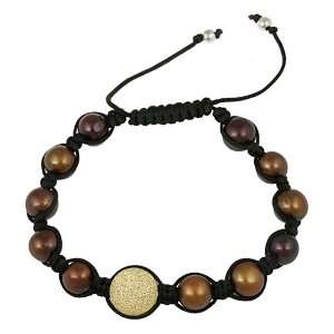 18k Gold Plated Sterling Silver Diamond Dust Bead and Brown Freshwater