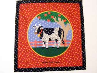 OOP Country Cow Cotton Fabric Pillow Panel 15 x 15