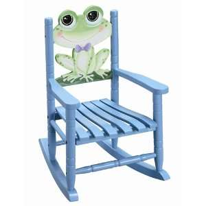 Kids Furniture Blue Froggy Wooden Rocking Chair