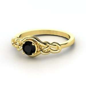 Sailors Knot Ring, Round Black Onyx 14K Yellow Gold Ring Jewelry