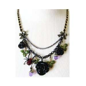 Betsey Johnson Dark Forest Rose Charm Necklace (FINAL SALE)