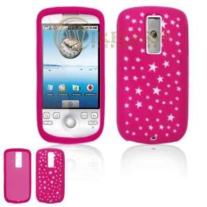 Hot Pink with White Stars Design Laser Cut Silicone Skin