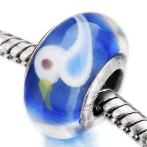 Blue Lovely White Duck Murano Glass Beads Fits Pandora Charms Bracelet