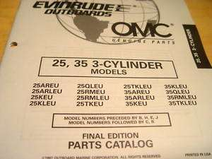 Evinrude Johnson 25 35 HP Outboard Parts Manual 1997
