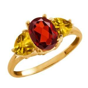 2.22 Ct Oval Red Garnet and Citrine Gold Plated Sterling