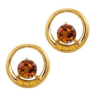 Orange Mystic Topaz and Citrine 14k Yellow Gold Earrings Jewelry